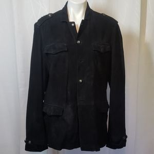 John Varvatos size 54 Suede Button Up Jacket
